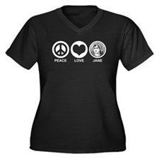 Peace Love Jane Women's Plus Size V-Neck Dark T-Sh