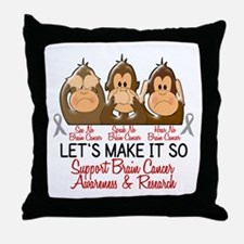 See Speak Hear No Brain Cancer 2 Throw Pillow