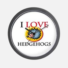 I Love Hedgehogs Wall Clock