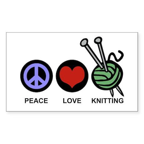 Peace Love Knitting Rectangle Sticker
