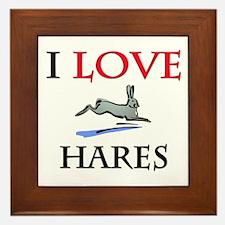 I Love Hares Framed Tile