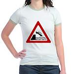 Cliff Warning Sign Jr. Ringer T-Shirt