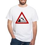 Cliff Warning Sign White T-Shirt