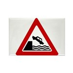 Cliff Warning sign - Rectangle Magnet (10 pack)