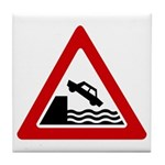 Cliff Warning sign - Tile Coaster