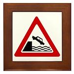Cliff Warning sign - Framed Tile