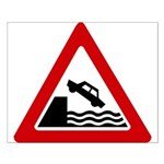 Cliff Warning sign - Small Poster