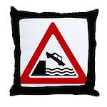 Cliff Warning sign - Throw Pillow