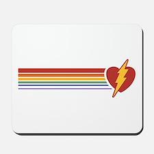 Retro Rainbow Lightning Heart Mousepad