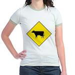 Cattle Crossing Sign Jr. Ringer T-Shirt