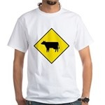Cattle Crossing Sign White T-Shirt