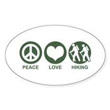 Peace Love Hiking Oval Decal
