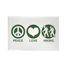 Peace Love Hiking Rectangle Magnet