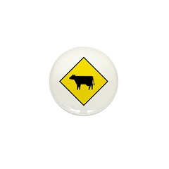Cattle Crossing Sign - Mini Button (10 pack)