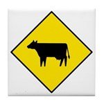 Cattle Crossing Sign - Tile Coaster