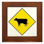 Cattle Crossing Sign - Framed Tile