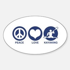 Peace Love Kayaking Oval Decal
