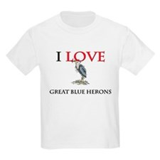 I Love Great Blue Herons Kids Light T-Shirt