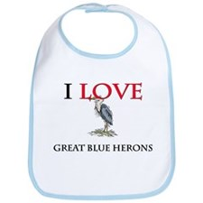 I Love Great Blue Herons Bib