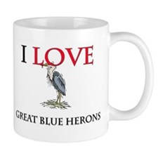 I Love Great Blue Herons Mug
