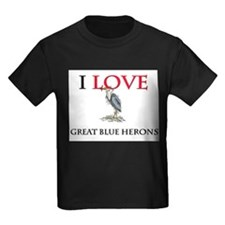 I Love Great Blue Herons Kids Dark T-Shirt