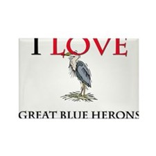 I Love Great Blue Herons Rectangle Magnet