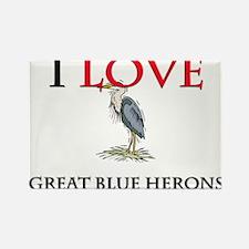 I Love Great Blue Herons Rectangle Magnet