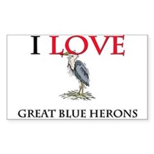 I Love Great Blue Herons Rectangle Sticker