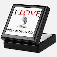 I Love Great Blue Herons Keepsake Box