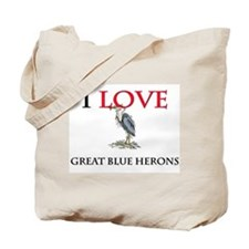 I Love Great Blue Herons Tote Bag
