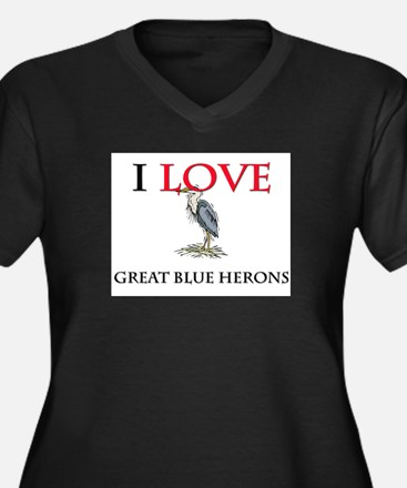 I Love Great Blue Herons Women's Plus Size V-Neck