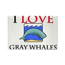 I Love Gray Whales Rectangle Magnet