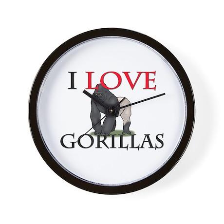 I Love Gorillas Wall Clock