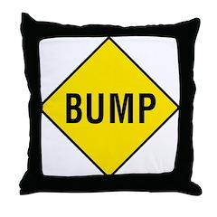 Yellow Bump Sign - Throw Pillow