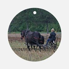 Draft Horses Plowing Ornament (Round)