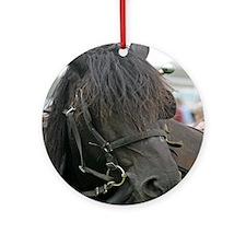 Black Percheron Horse Ornament (Round)