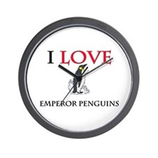 I Love Emperor Penguins Wall Clock