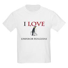 I Love Emperor Penguins Kids Light T-Shirt