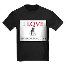 I Love Emperor Penguins Kids Dark T-Shirt