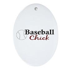Baseball Chick Oval Ornament