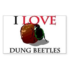 I Love Dung Beetles Rectangle Decal