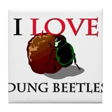 I Love Dung Beetles Tile Coaster