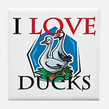 I Love Ducks Tile Coaster