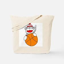 Sock Monkey with Basketball Tote Bag