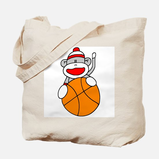 Sock Monkey with Basketball Tote Bag