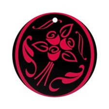 SCARLET/RED ROSE SILHOUETTE Ornament (Round)