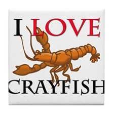 I Love Crayfish Tile Coaster