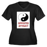 OPPOSITES ATTRACT Women's Plus Size V-Neck Dark T-