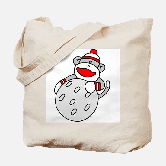 Sock Monkey with Golf Ball Tote Bag