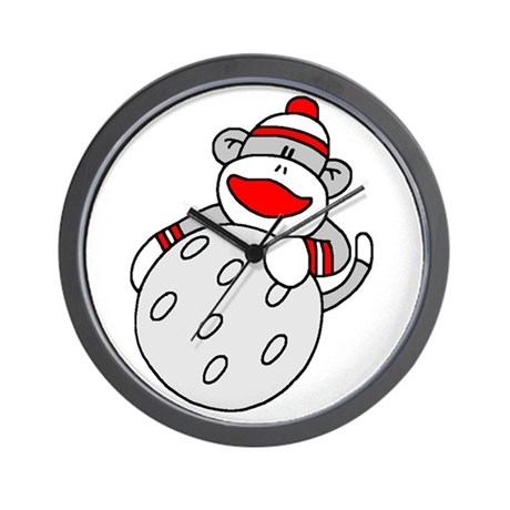 Sock Monkey with Golf Ball Wall Clock
